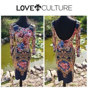 Love Culture Floral Roses Pencil Dress Size Large